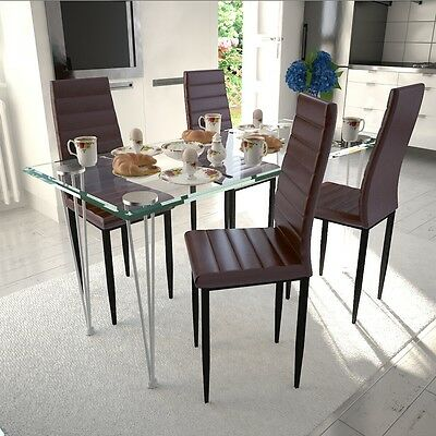 New 4 pcs Brown Slim Line Dining Chair 42 x 51 x 98 cm Artificial Leather