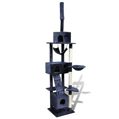 New Cat Tree Scratching Post Toy Cat Play House Activity 3 Condos Dark Blue