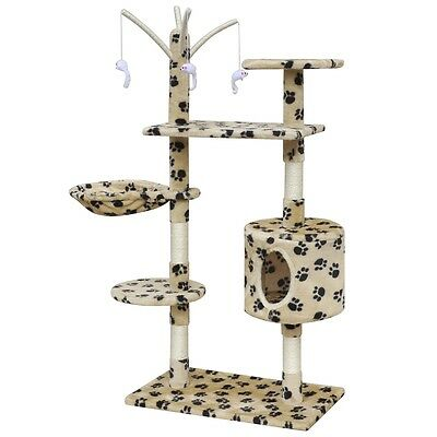 130cm 1 House Cat Tree Scratching Post Activity Centre Bed Beige with Paw Prints
