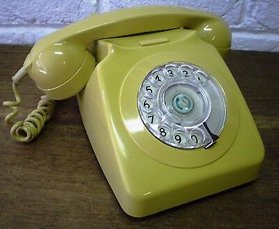 Vintage PO Authorised D746F Retro *Mustard* Colour *Rotary Dial Home Telephone