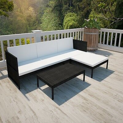 New Black Outdoor Poly Rattan Three-Seater Lounge Set Weather-resistant