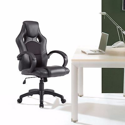 High Back Racing Style Office Chair Executive Swivel Bucket Seat Black Leather