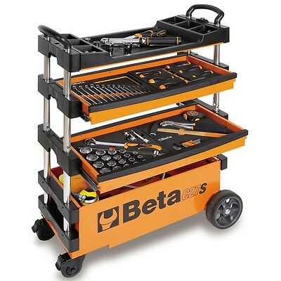 Beta Tools Folding Portable Collapsible Tool Trolley w/ Drawers C27S-O 027000201