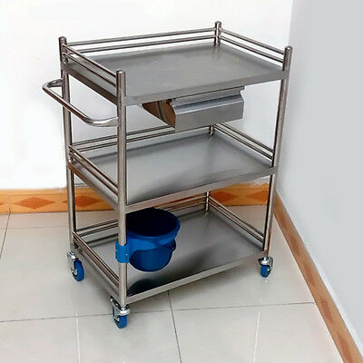 Three Layer Home Clinic Serving Medical Dental Lab Cart Trolley with Drawer M99G