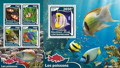 Z08 Imperforated CA16008ab CENTRAL AFRICA 2016 Fishes MNH Set