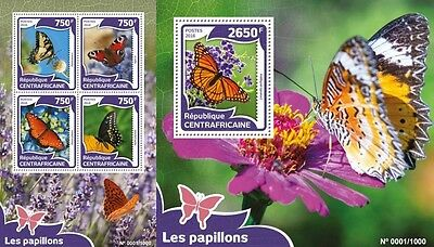 Z08 Imperforée CA16004ab CENTRAL AFRICA 2016 papillonsMNH Jeu