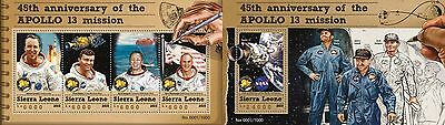 Z08 Imperforated SRL15611ab SIERRA LEONE 2015 Apollo 13 Cosmos MNH Set