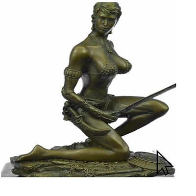 "Bronze Sculpture Signed ""Amazon"" Nude Woman With Sword Sculpture Statue"