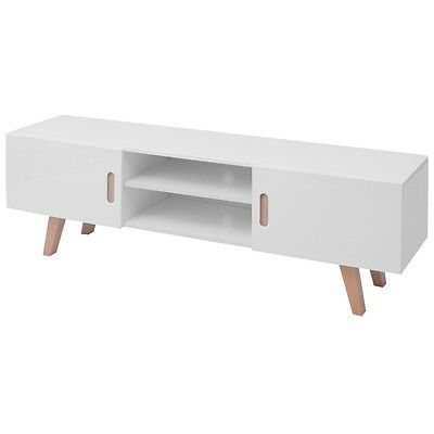 High Gloss TV Stand Shelf Cabinet Unit Display Entertainment Modern MDF White