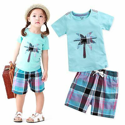 "Vaenait Baby Kids Girls Boys Clothes Short Outfit set ""Palmtree Sky"" 12M-7T"