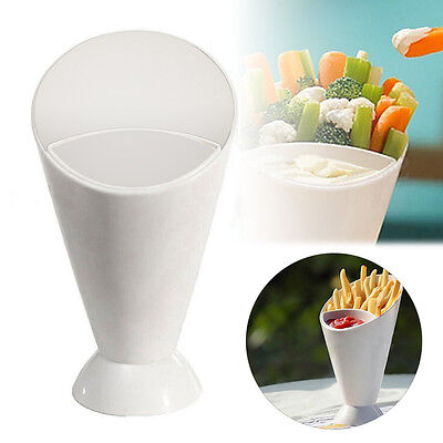 1 Set Dipper Fry Snack Cone Stand French Fries Sauce Ketchup Dip Holder Bowl Cup