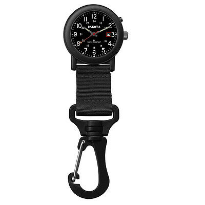 Dakota Light Backpacker Clip Watch w/Dial Light - Black