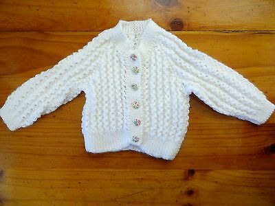Baby Hand Knitted Cardigan Unisex...white Butterfly Buttons..chest 40Cm