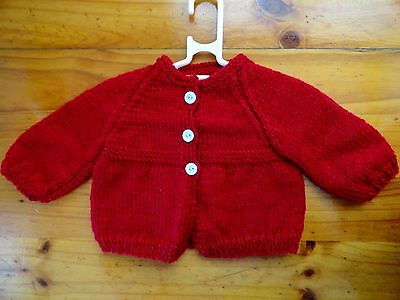 Baby Hand Knitted Cardigan Unisex...in Red..chest 46Cm