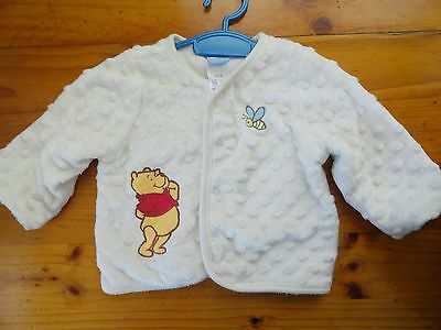 Baby Jacket..in White..disney Pooh Bear..chest 56Cm..pre Owned In Good Condition