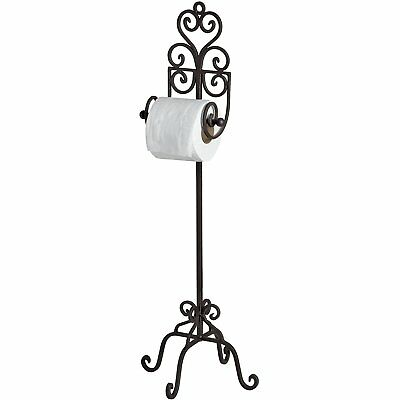 Traditional Country Antique Brown Iron Freestanding Bathroom Toilet Roll Holder