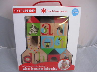 Skip Hop Alphabet Zoo ABC House Wood Blocks Zoo Animal House Bricks