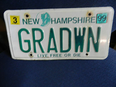 """New Hampshire """"Old Man Of The Mountain"""" License Plate  GRADWN"""