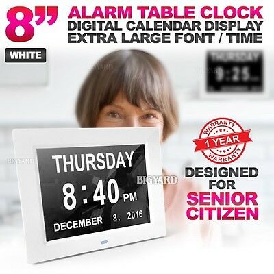 """8"""" LED White Dementia Digital Calendar Day Clock Large Time Day/Week/Month/Year"""