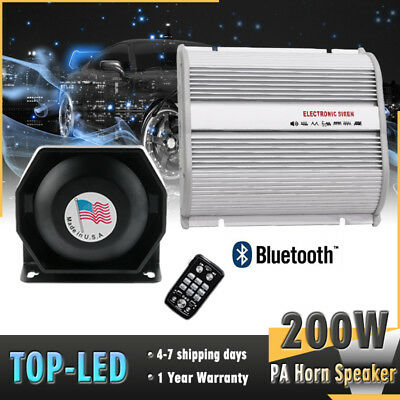 200W 12V Car Alarm Police Fire Loud Speaker PA Siren Horn Bluetooth System Kit
