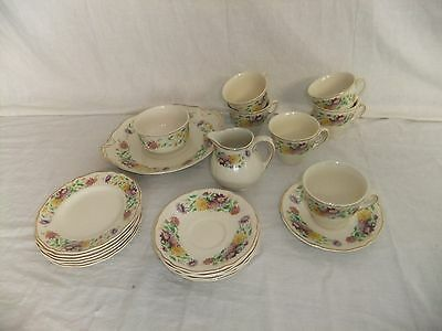 C4 Porcelain Royal Doulton Aster pattern D6161 tea service (21 pc), vintage 8C2C