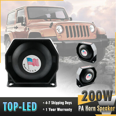 Universal 200W 12V Emergency Warning Siren Compact Loud Speaker PA System Horn