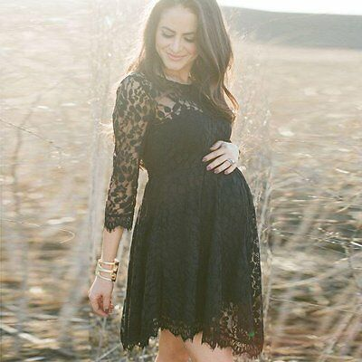 Pregnant Women Maternity Casual Lace Floral Dress Photo Studio Photography Prop