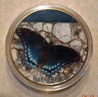 Cook Islands commemorative blue butterfly gold plated clad coin