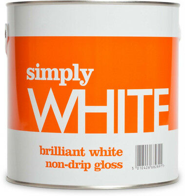 Simply White Non Drip Gloss White Paint in 2.5L 1.25L 500ml For All Wood & Metal