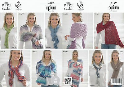 Womens Wraps Scarves Knitting Pattern King Cole Ladies Sparkly Accessories 4189