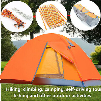 Double Layer 2 Person Camping Tent Outdoor Hiking Shelter Waterproof Windproof