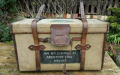 Ww1 leather.canvas Campaign chest trunk 1914 sir wm lowther bt Erbistock est.