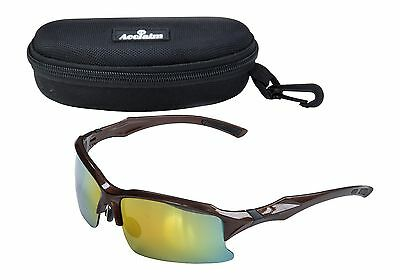 ACCLAIM Titan Cricket Cycling Sunglasses Plastic Bronze Black Frame Rainbow Lens