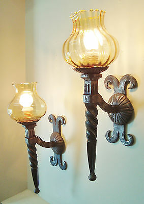 LARGE PAIR WROUGHT IRON SCONCES WALL LIGHTS GOLD GLASS SHADES 1970's
