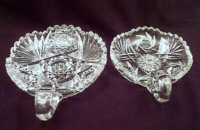 Two American Brilliant Period Antique Cut Crystal Nappies, Handled Bowls