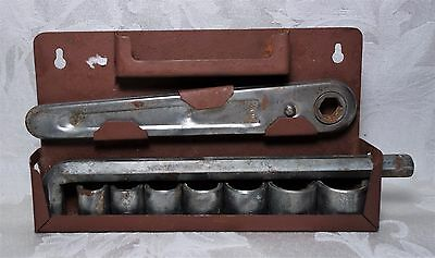 Vintage 1950's Tap Socket Wrench Set 12 Point Torx with Metal Wall Mount (Japan)