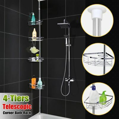 No Rust Bathroom Telescopic Corner Shelf Storage 4 Tier Shower Caddy Organiser