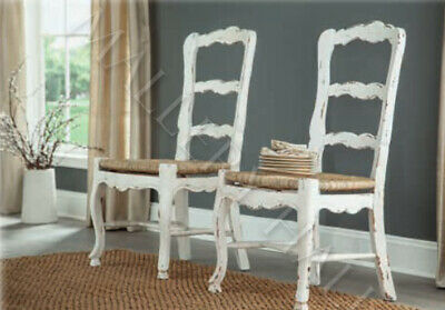 French Country Ladderback Dining Side Chairs Rush Seat