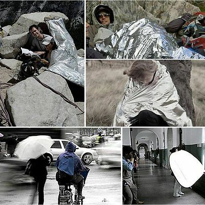 210*160cm Silver Thermal Emergency Blanket Aluminum Foil Survival First Aid