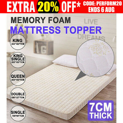 7CM Memory Foam Mattress Topper Elastic Underlay Cover QUEEN DOUBLE SINGLE Bed