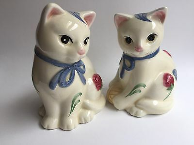 Lenox Cat Salt and Pepper Shakers - Poppies on Blue