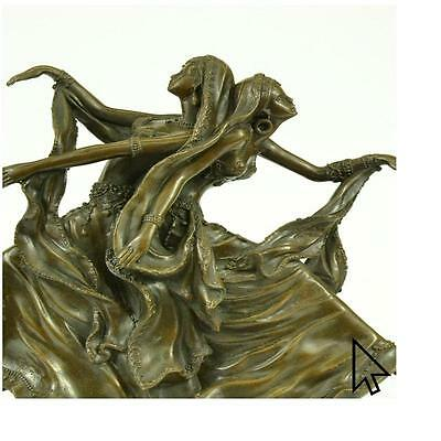 Handcrafted Persian Dancers Bronze Sculpture Art Nouveau Marble Figure Home  E