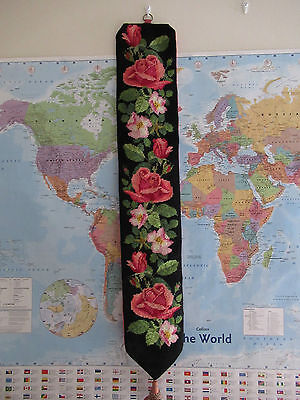 Antique Victorian style embroidered needlepoint bell pull wall hanging