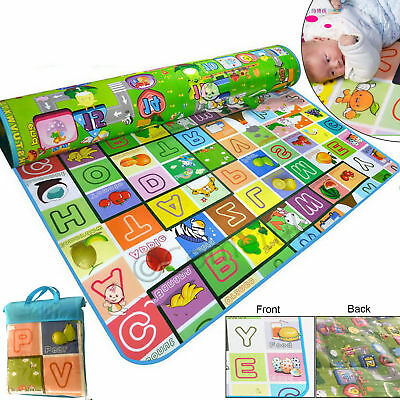 200x180cm Kids Crawling 2 Side Baby Play Mat Educational Soft Foam Picnic Carpet