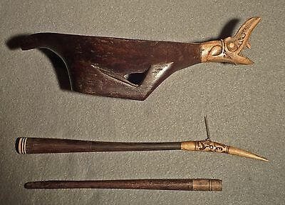 Antique  Tattooing Kit.  Carved Bowl With Bone.. Needles And Mallet.  Borneo