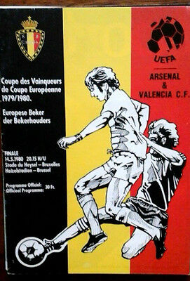 Valencia V Arsenal 14/5/1980 European Cup Winners Cup Final