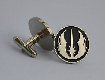 Star Wars Black and Silver Jedi Order Emblem Quality Enamel Cufflinks