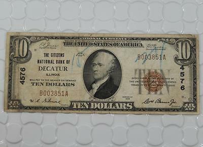 Series 1929 $10 Dollar National Currency 4576 Citizens N. Bank Decatur, IL P0038
