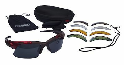CHEX Europa Cricket Cycling Sunglasses Sports Glasses Burgundy Frame 5 Lenses