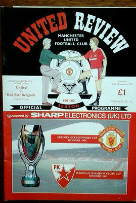 Man Utd V Red Star 19/11/1991 European Super Cup Final Token Neatly Removed
